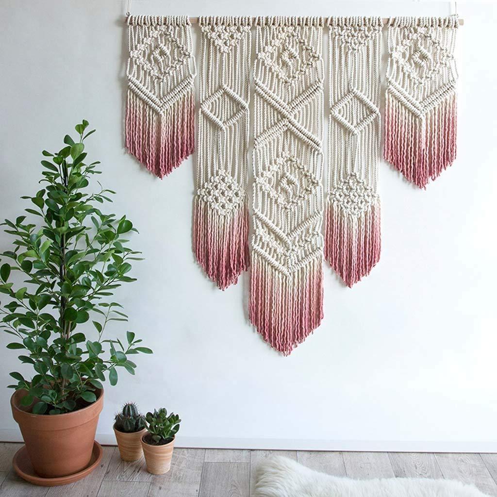 Realizzato a Mano in Cotone Colore : Pink Hqgt Decorazione da Parete in macram/è per la Casa Arazzo in Stile Boho-Chic Elemento Decorativo da Appendere