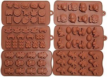 Artes Efivs 6pcs Candy moldes, moldes Chocolate, moldes de silicona, jabón Moldes,