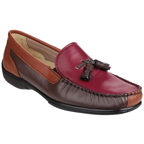 Cotswold Ladies Biddlestone Slip On Leather Moccasin Shoe Brown D0oMjOf