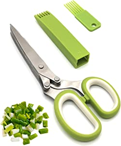 Kitchen Herb Scissors and Herb Stripper - with 5 Stainless Steel Blades and Vegetable Leaf Stripper for Cutting Shredded Lettuce Okra Fresh Cilantro Fresh Onion Fresh Kitchen Shears Dishwasher Safe