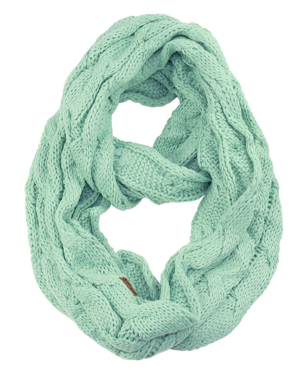 NYFASHION101 Soft Warm Chunky Cable Knit Infinity Loop Scarf Confetti Rust