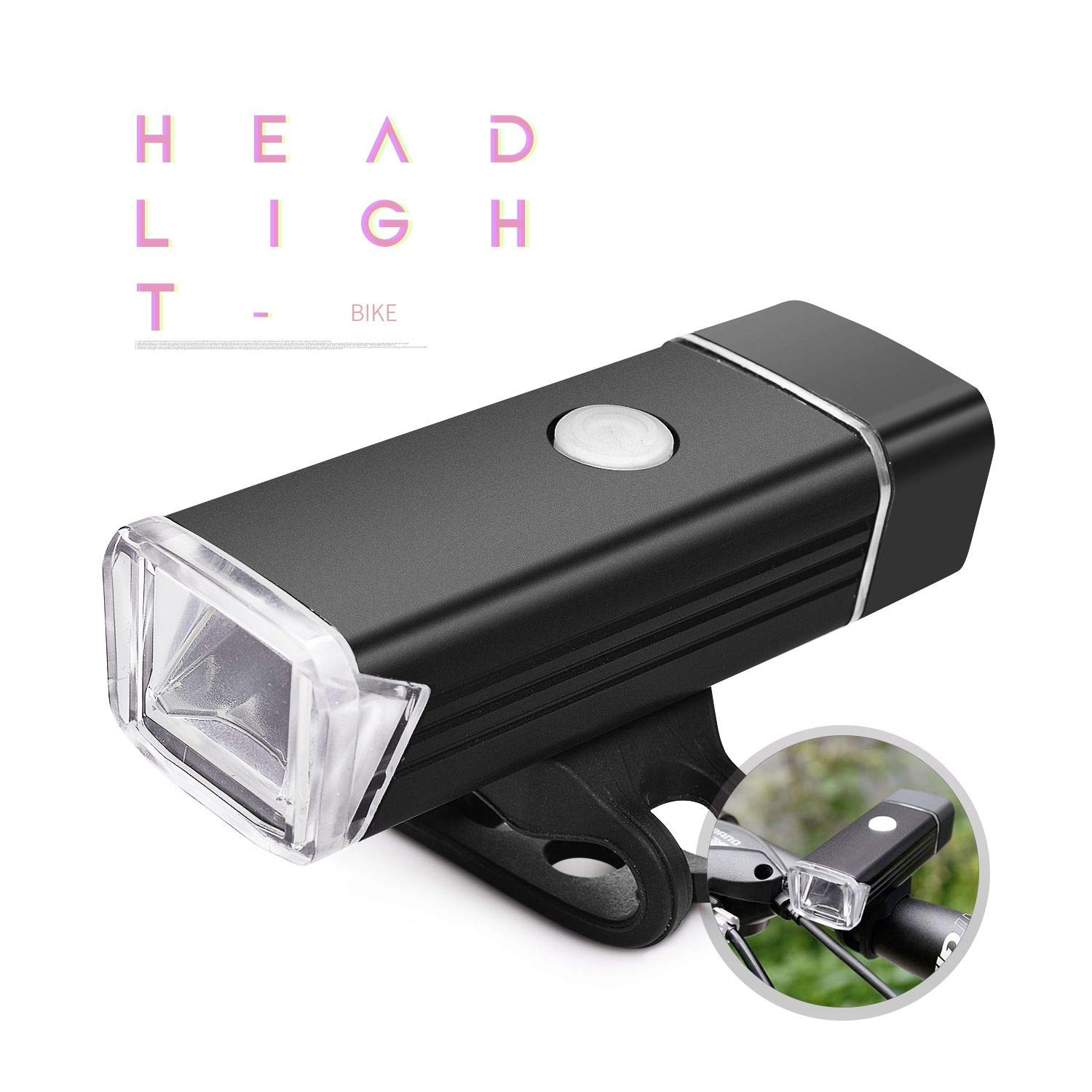 Bike Headlight USB Rechargeable Bicycle Light- Aluminum Alloy Waterproof 300 Lumen High Brightness Bicycle Light – Fits All Bicycles, Road, MTB, Easy Install Quick Release Bicycle Front Light