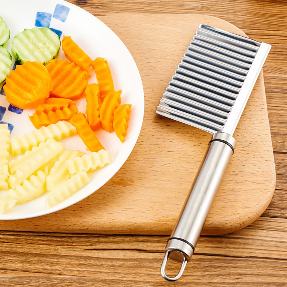 Crinkle Chip Cutter, abtong Crinkle Cutter Potato Crinkle Cut Knife Vegetable Crinkle Stainless Steel Wavy Cutter Tool Sharpe Blade No-Rust