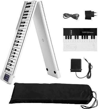 SEAAN Piano eléctrico plegable de 88 teclas, Bluetooth, MIDI, pedal de salida, aplicación inteligente con práctica de juego, 128 tipos de afinación de ...