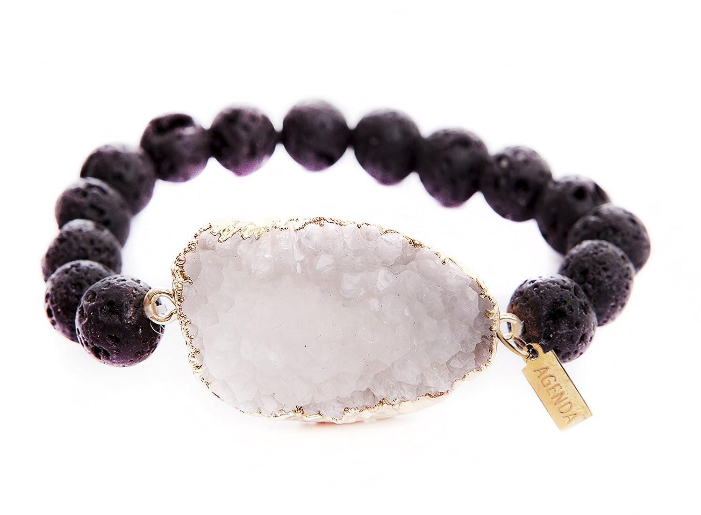 AGENDA Druzy Agate Natural Stretch Bracelet Lava Beads 9
