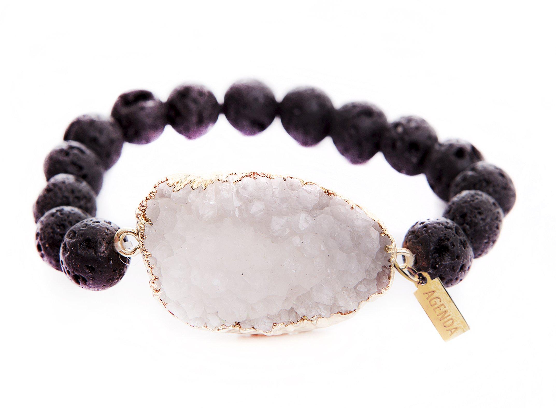 AGENDA Druzy Agate Natural Stretch Bracelet Lava Beads 9'' Essential Oil Diffuser