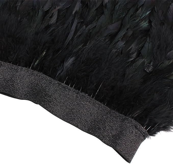 Sunbeter Mini Falda Mujer Pluma Negra con Cintura elástica Falda(M ...