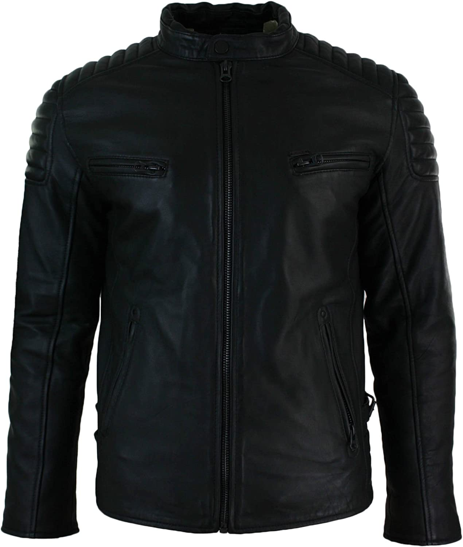 Men Leather Jacket New Soft Lambskin Slim Biker Bomber Coat T1346