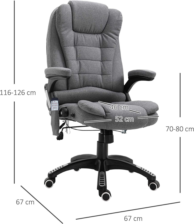 Vinsetto Bürostuhl Massagesessel Drehstuhl höhenverstellbar Leinen 2 Farben