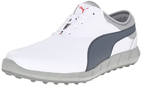 PUMA Men's Ignite Spikeless Golf Shoe, White/Turbulence/High Risk Red, 7.5