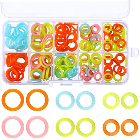 HEIRTRONIC 120 Pieces Colored Knit Knitting Stitch Markers Rings with Storage Box Multiple-Size