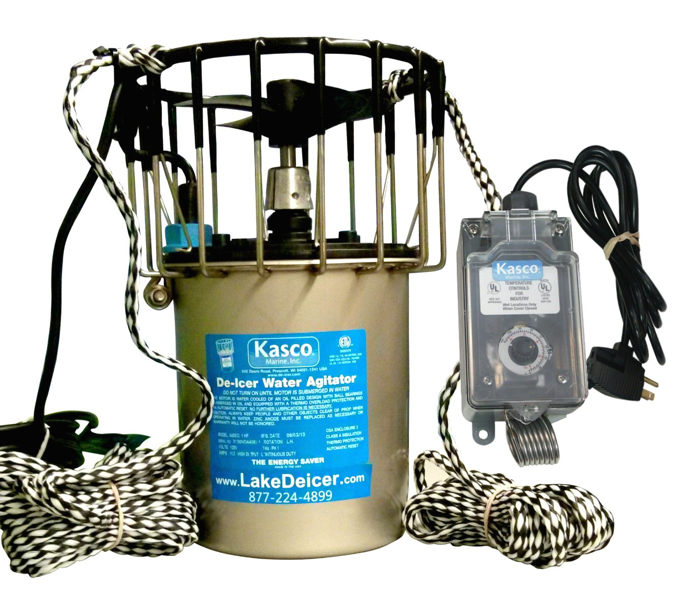 Kasco Marine Lake & Pond De-icer 1hp - 120v Deicer 25ft Power Cord & Ropes C-10 Timer Thermostat Controller by Kasco Marine