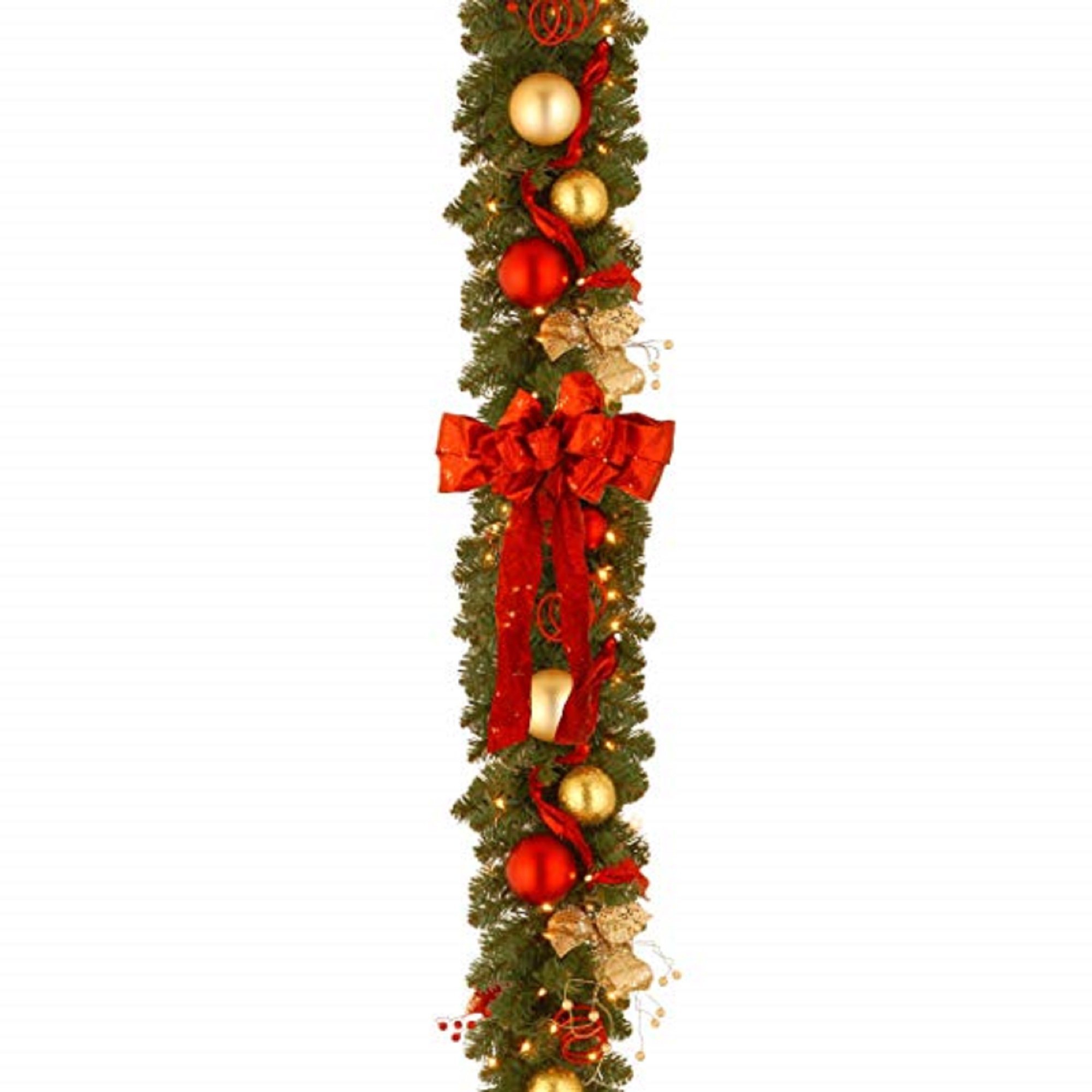 9' x 12'' Pre-Lit Artificial Decorative Collection Cozy Christmas Garland – Red and Clear Lights