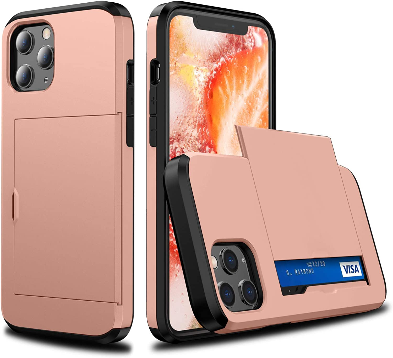 Shmimy Credit Card Holder Case for iPhone 11 Pro Max Hidden Slot Wallet Dual Layer Cases Soft TPU Hard PC Shockproof Cover for iPhone 11 Pro Max 6.5 inch 2019