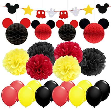 LUCK COLLECTION Mickey Mouse Party Decorations Yellow Black Red Birthday Garland Banner Tissue