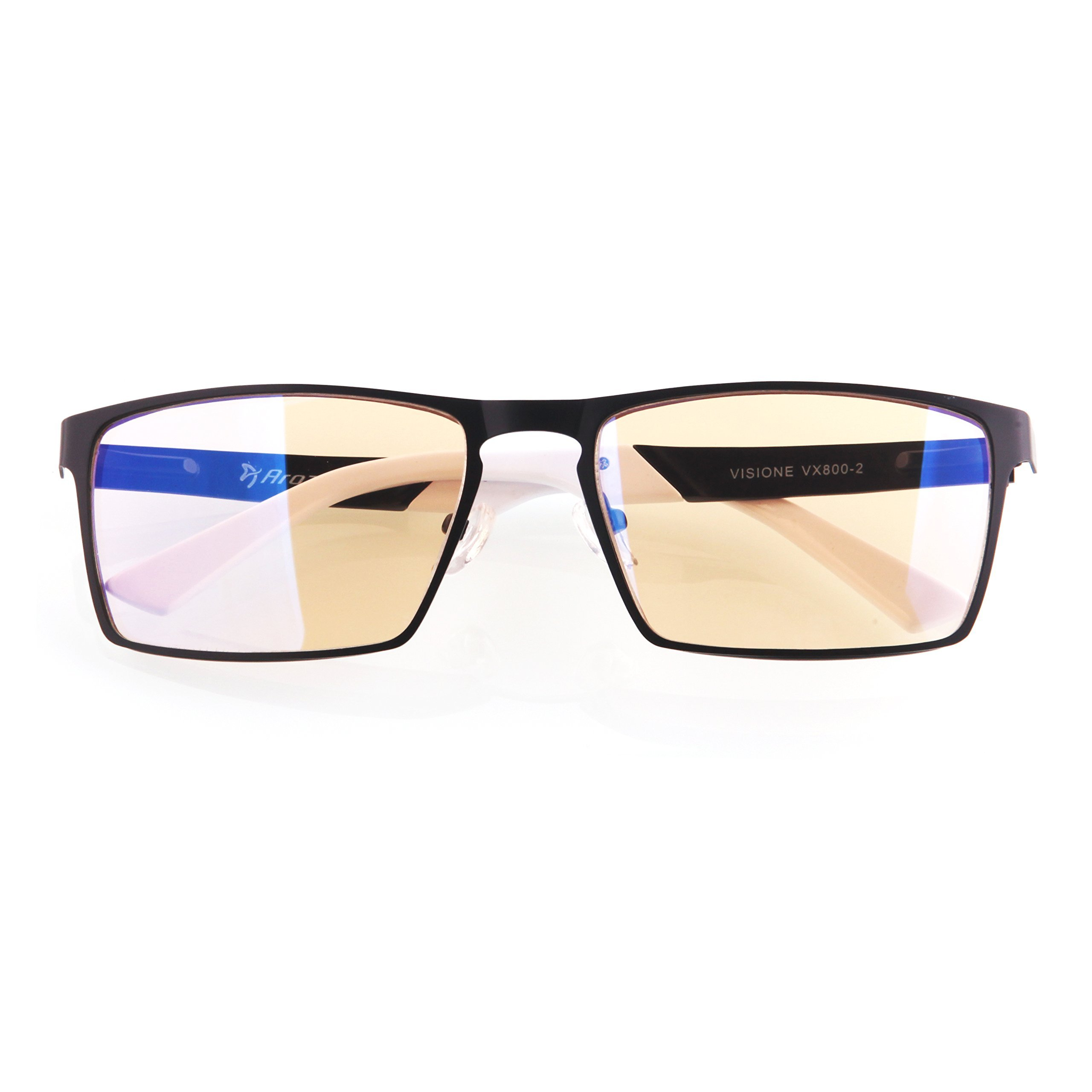 Arozzi Visione VX-800 Computer gaming glasses - Anti-glare, UV and Blue light protection, Eye strain relief, Comfortable gaming, Black