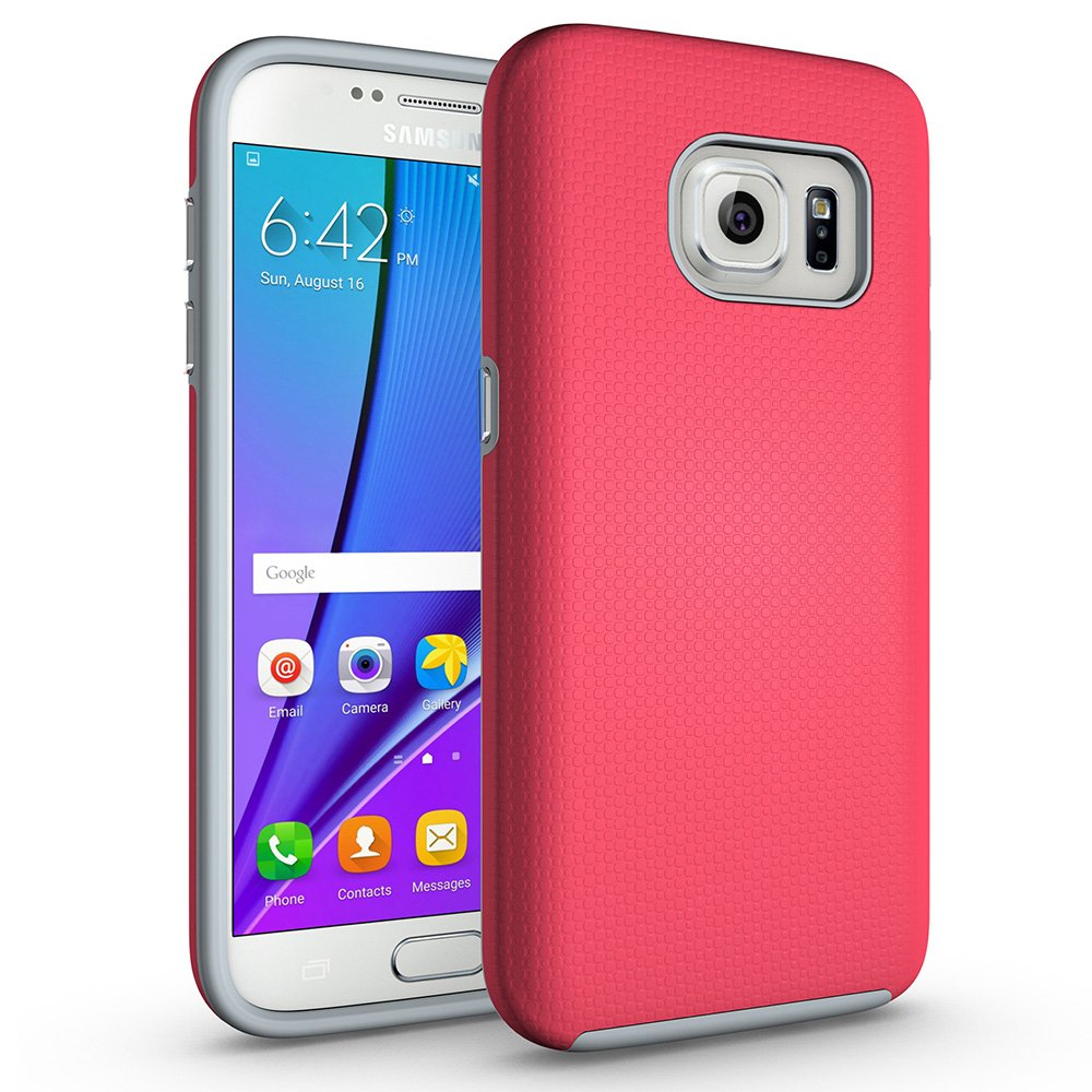 Galaxy S7 Non-Slip case, ACMBO Rugged Heavy Duty Armor Case Hybrid Dual Layer Hard PC + Soft Rubber Shockproof Dots-Antiskid Bumper Cover for Samsung Galaxy S7 G9300, Rose Red