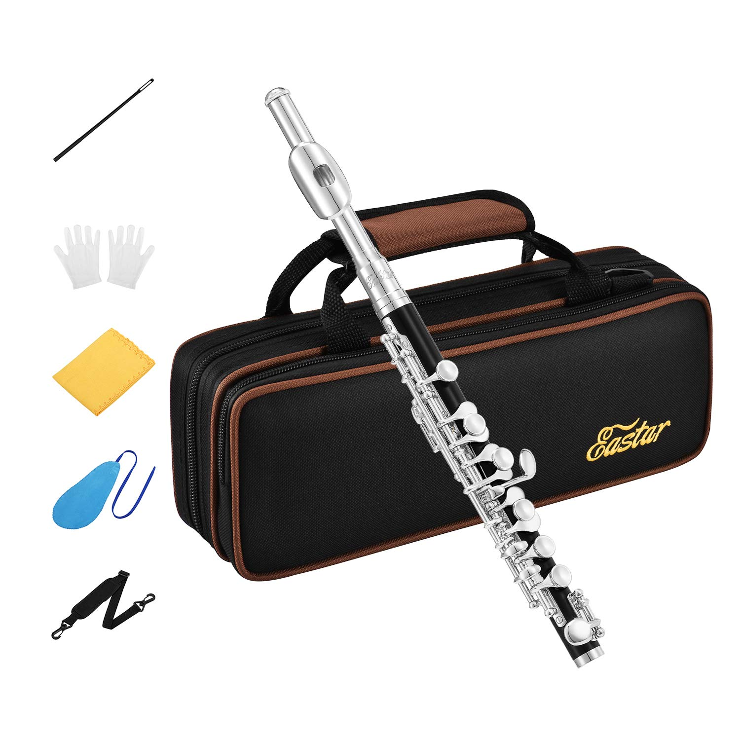 Eastar EPC-3S Black Resin Piccolo Key of C 2-Piece With Silver Plated Keys Hard Case Fingering Chart, Cleaning Rod, Cloth, Swab and Gloves by Eastar