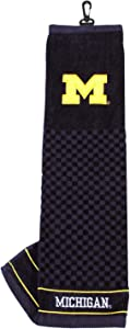 Team Golf NCAA Michigan Wolverines Embroidered Golf Towel, Checkered Scrubber Design, Embroidered Logo,Multi
