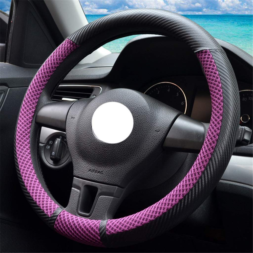 Interior Accessories Steering Covers ZHAS Steering Wheel Cover Ice Wire Breathable Wear-Resistant Anti-Slip for Diameter 36-40CM Color : B-38cm/14.96inch