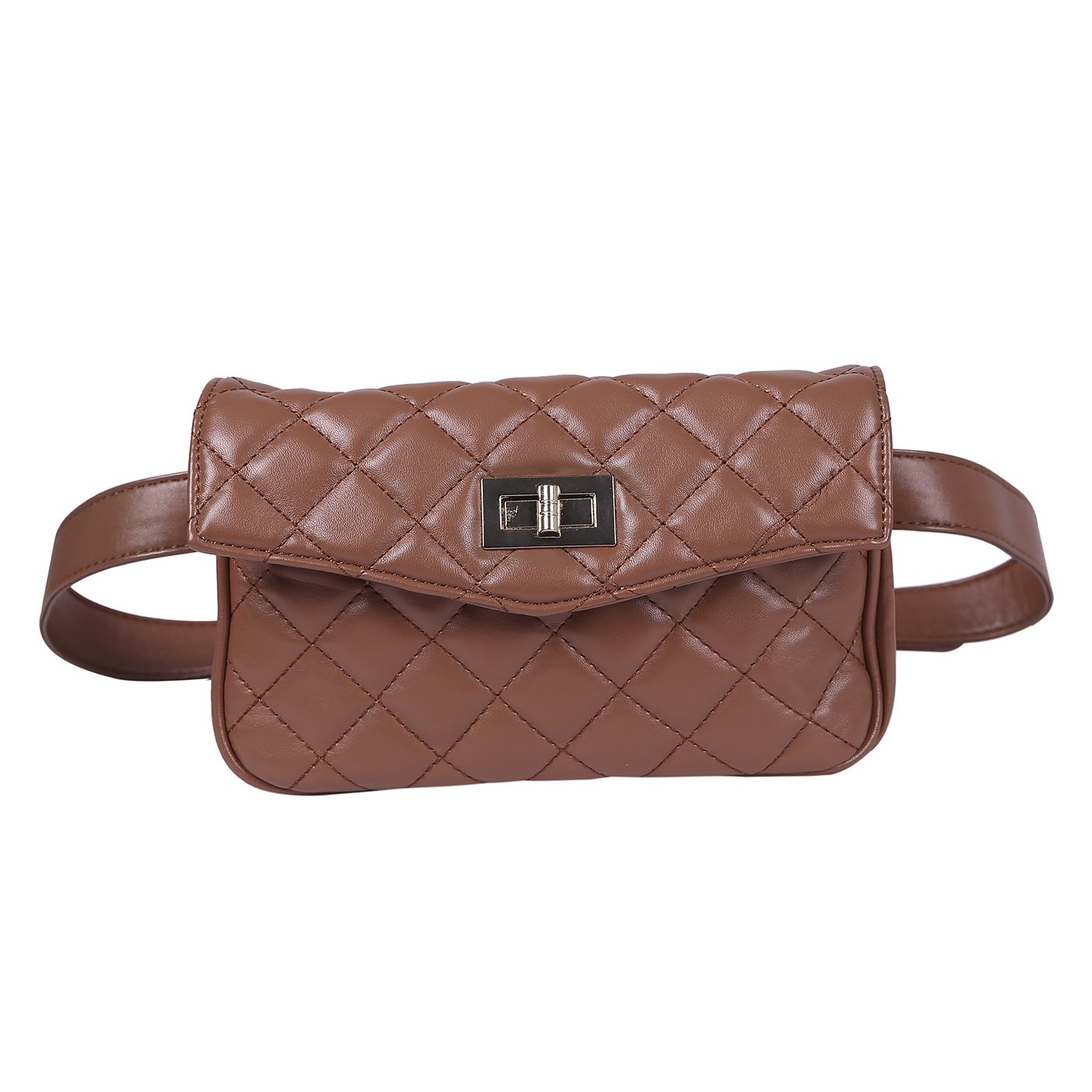 93a0816f37c HDE Quilted Fanny Pack Faux Leather Fashion Belt Bag Waist Pack for Women  with 2 Belts