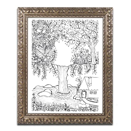 Amazon Waterfall Doodle By Kcdoodleart Gold Ornate Frame
