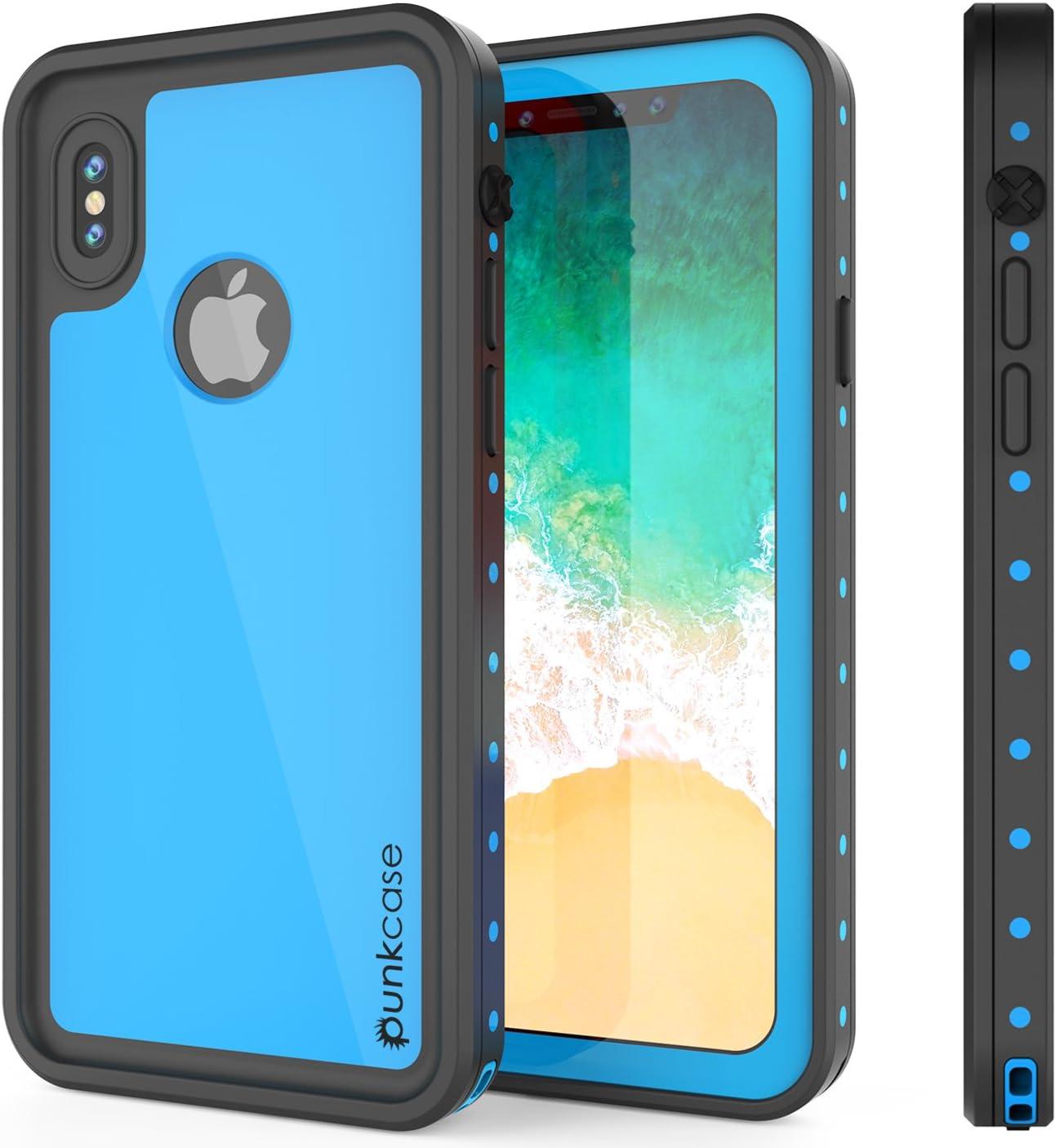 iPhone X Waterproof Case, Punkcase [StudStar Series] [Slim Fit] [IP68 Certified] [Shockproof] [Dirtproof] [Snowproof] Armor Cover for Apple iPhone Ten [Light Blue]