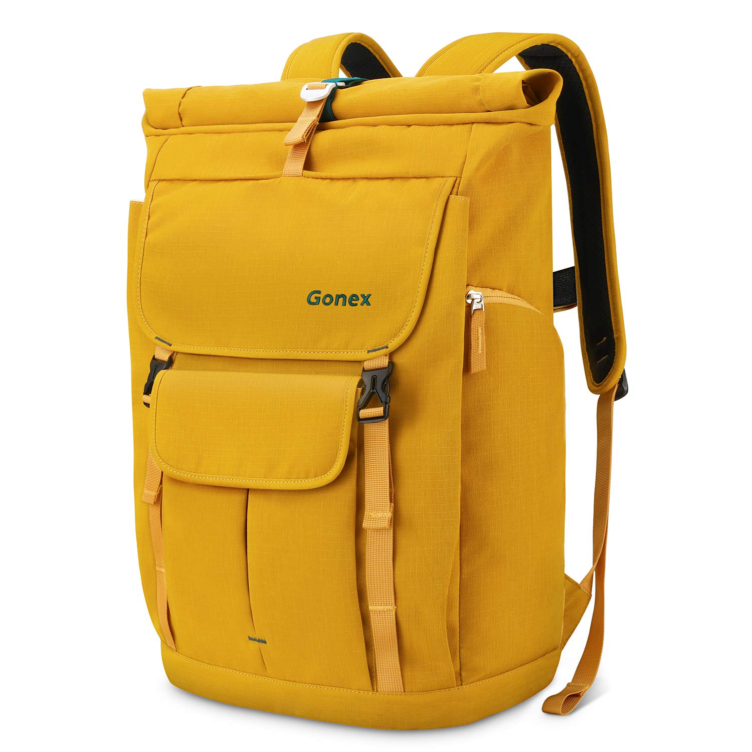 Gonex Travel Laptop Backpack, 30L Casual Roll Top Durable Rolltop Backpack Daypacks for Men Women for Work Office College Students Business Travel Schoolbag Bookbag fits 14 Inch Laptop Yellow by Gonex