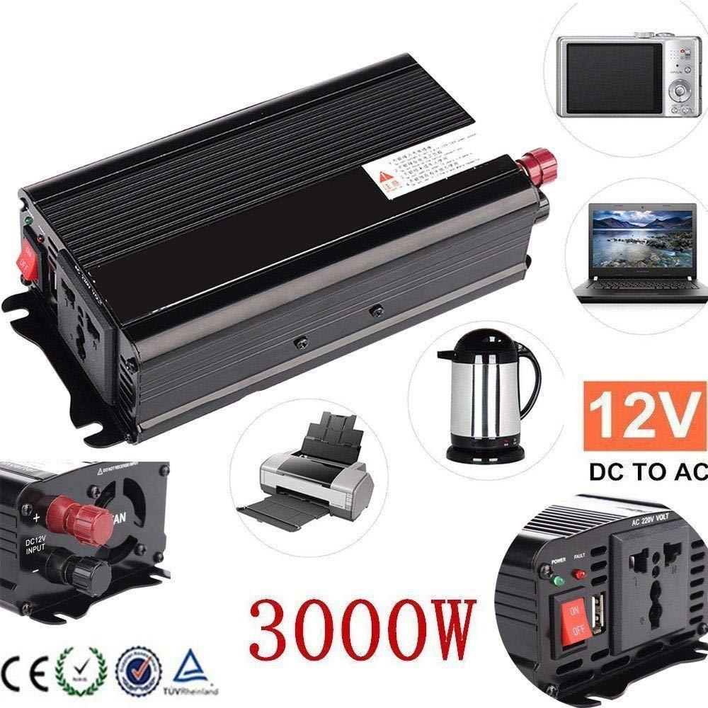 12V a 220V; Argento TOPmountain Inverter per Auto 110V AC Converter con Display e Porta USB per Auto Inverter 3000 W Peak Dc 12V per Ac220V