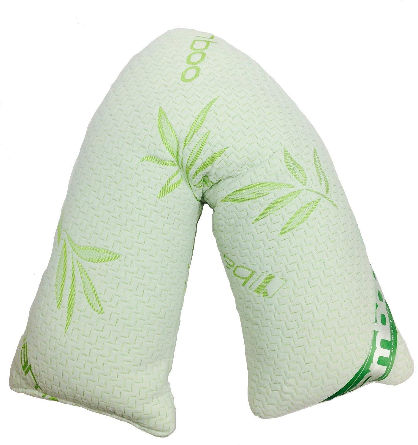Extra Cushioning Support For Head V Shaped Bamboo Memory Foam Pillow Includes Free Grey V Pillow Case Cover Neck /& Back