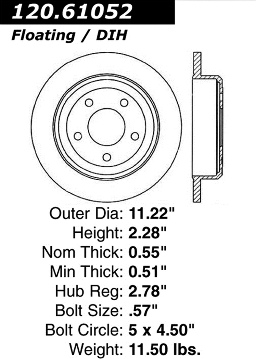 Rear Left StopTech 127.61052L Sport Drilled//Slotted Brake Rotor 1 Pack