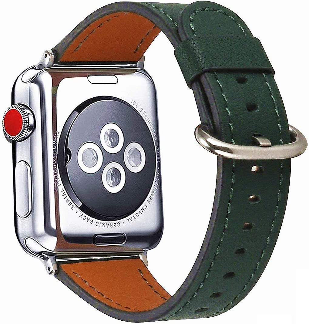 HUAFIY Compatible iWatch Band 38mm 40mm, Top Grain Leather Band Replacement Strap iWatch Series 6/ 5/ 4/ 3/2/1,SE,Sport, Edition (bottle green+silver buckle, 38mm40mm)