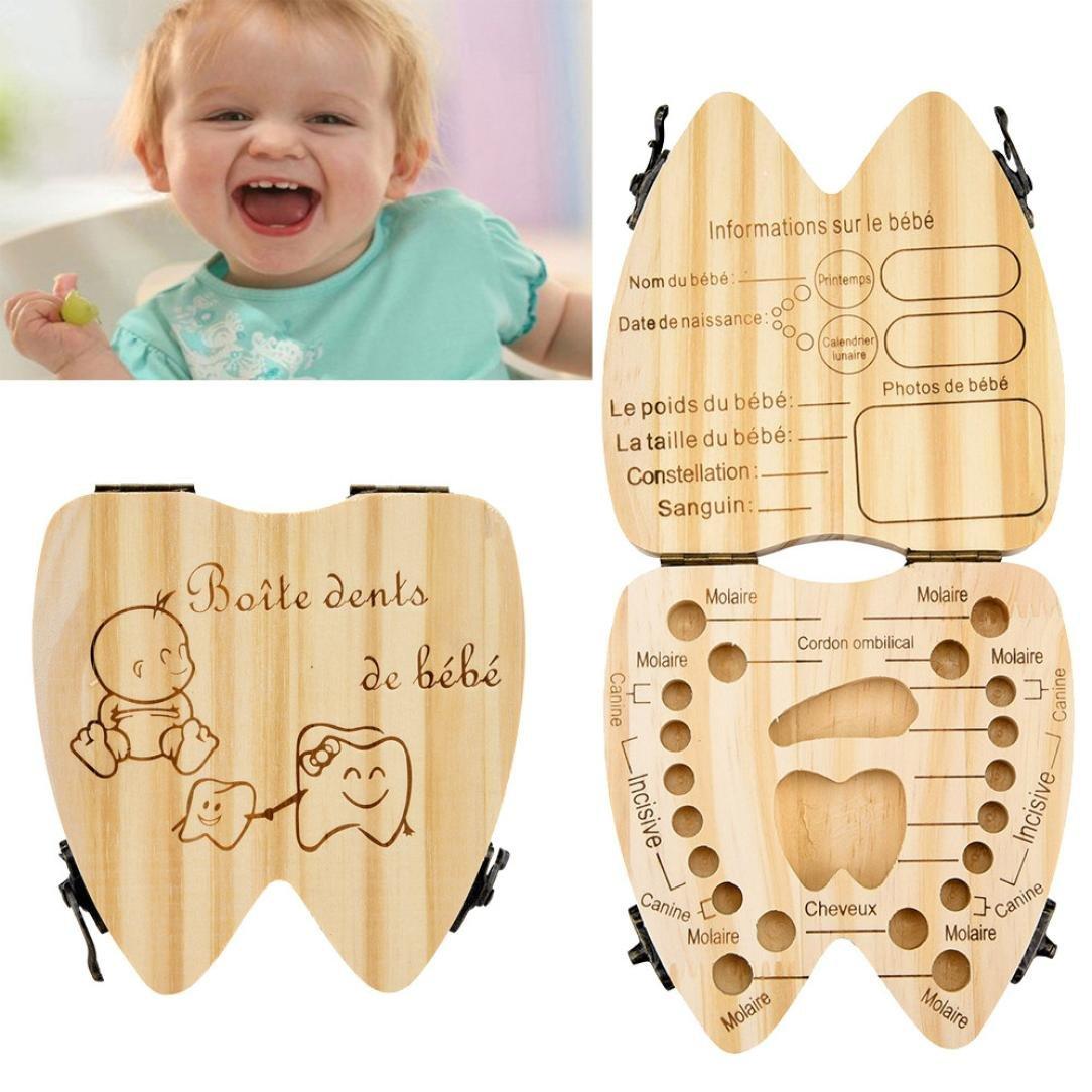 caja de recuerdo de hadas A Organizador de cajas de madera para guardar los dientes de leche de los ni/ños Winkey