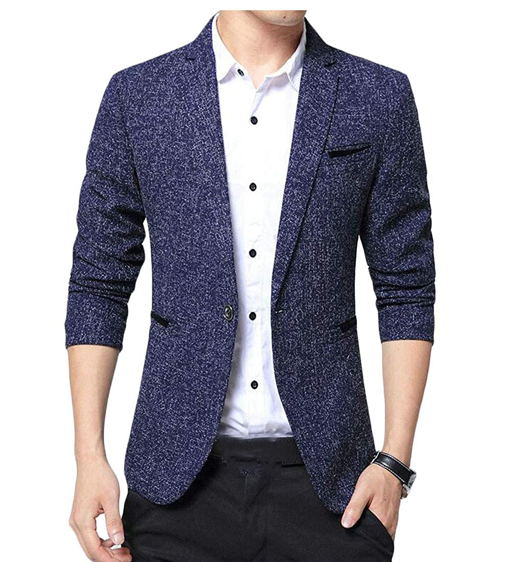 bluee Macondoo-CA Mens Slim Office One Button Lapel Thin Coat Blazer Jackets