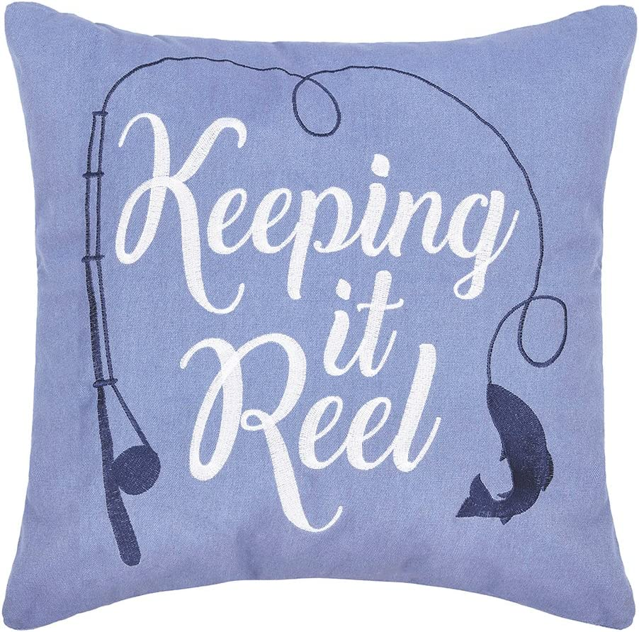 C F Home Keeping It Reel Embroidered Pillow 18 x 18 Blue