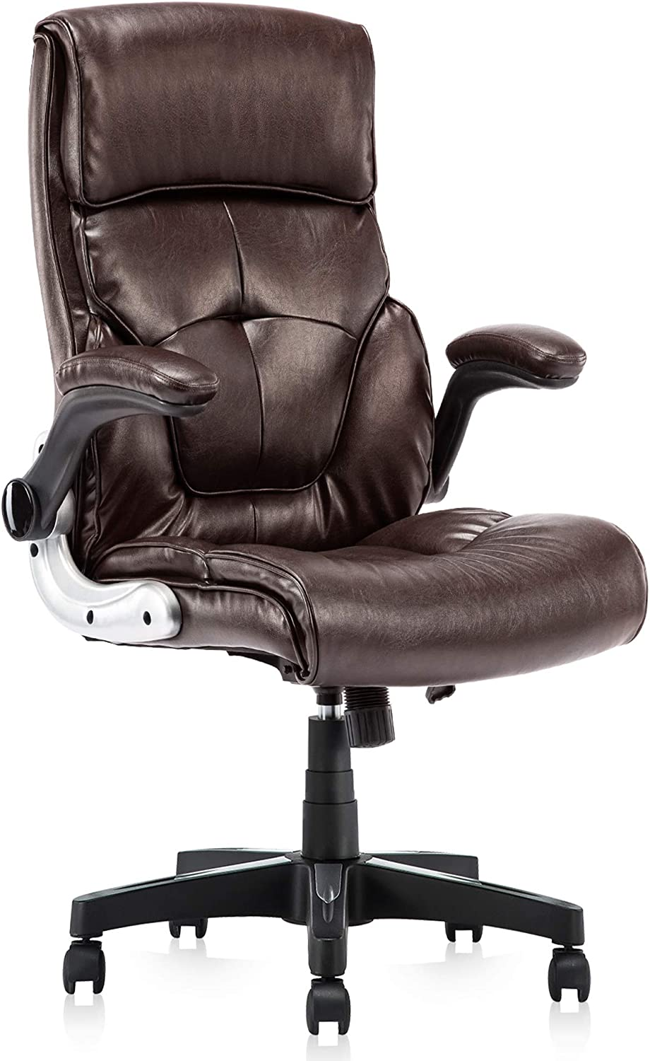 High Back Leather Office Chair – Adjustable Tilt Angle and Flip-up Arms Executive Computer Desk Chair, Thick Padding for Comfort and Ergonomic Design for Lumbar Support, Brown