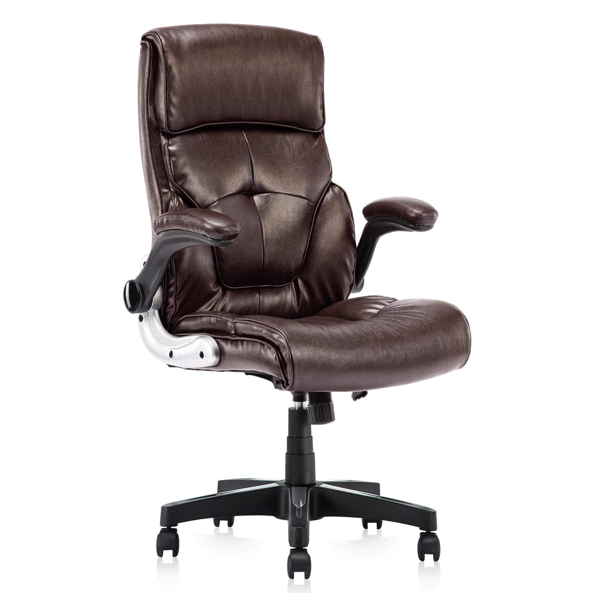 High Back Leather Office Chair - Adjustable Tilt Angle and Flip-up Arms Executive Computer Desk Chair, Thick Padding for Comfort and Ergonomic Design for Lumbar Support, Brown by YAMASORO