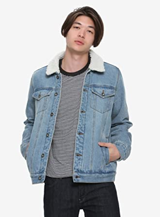 a08aa1dd956 Image Unavailable. Image not available for. Color  XXX Rude Sherpa Collar  Lined Light Denim Jacket