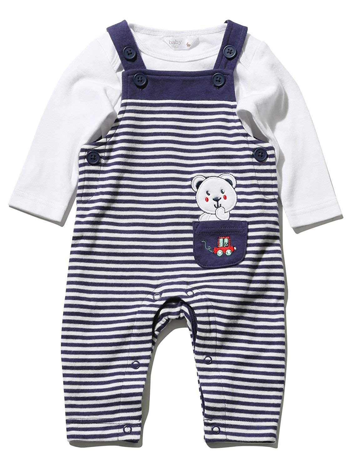 M&Co Newborn Boy Navy White Stripe Bear Applique Long Sleeve Romper and Bodysuit Set