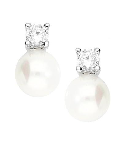 b1ef6299edad MyGold perlas de pendientes pendientes plata de ley 925 plata con piedras 2  circonitas 2 perlas
