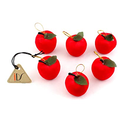 Amazon.com: 6pcs Red Apples Christmas Tree Party Hanging Ornaments ...