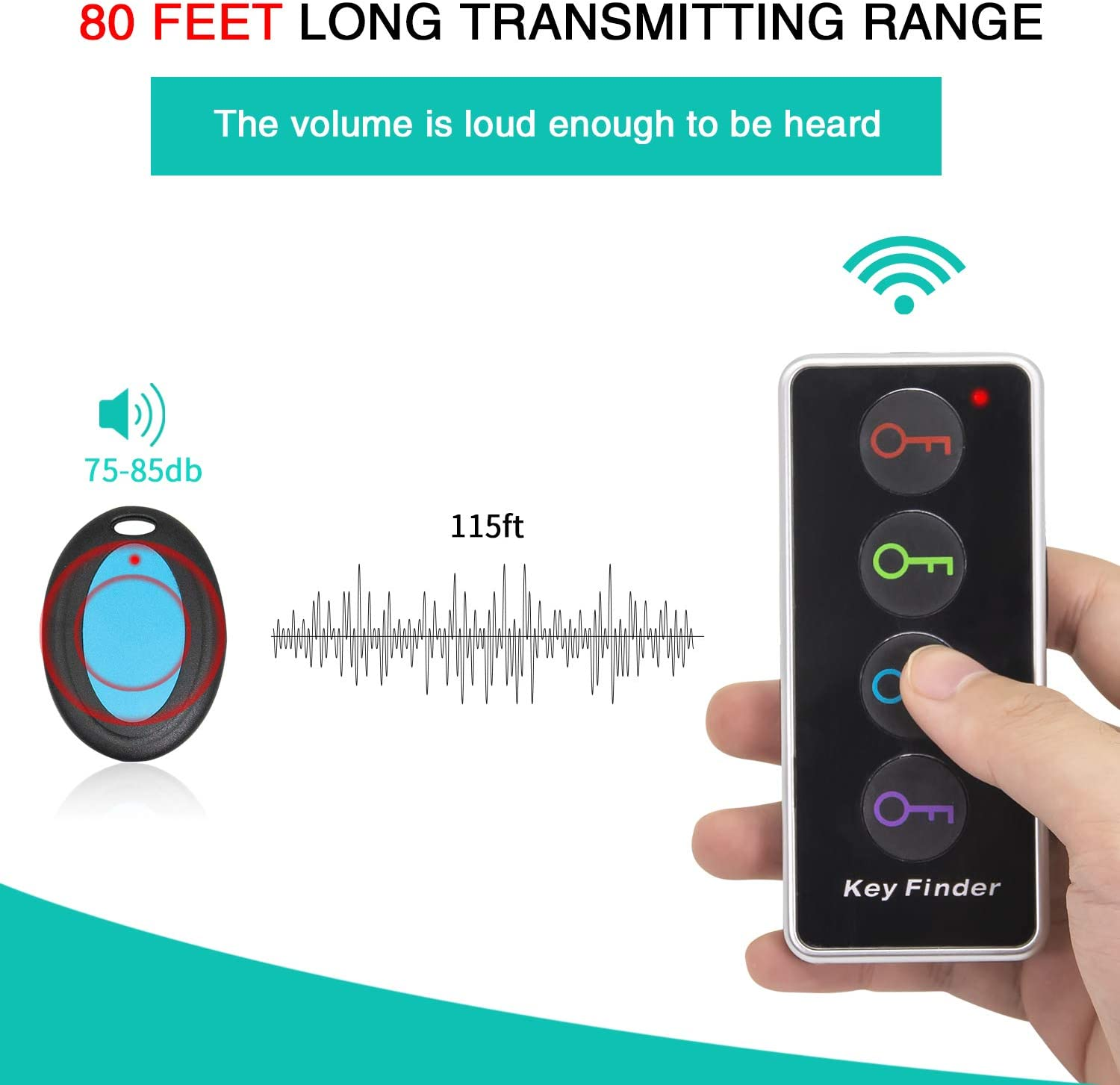 Long-Lasting Loud Sound Items pet Key Finder /& Items locators Remote Control Finder Paired Modern Design Buttons Keys Wireless Essential Items Finder Set Ready to use