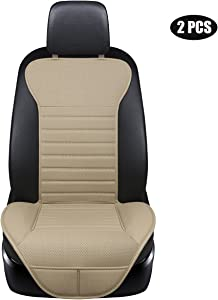 EDEALYN (2PCS Driver and Passenger Seat Cover PU Leather Seat Covers Universal Car Seat Cover Front Seat Protector Fit Most Sedans &Truck &SUV (2 PCS Beige - no Charcoal)