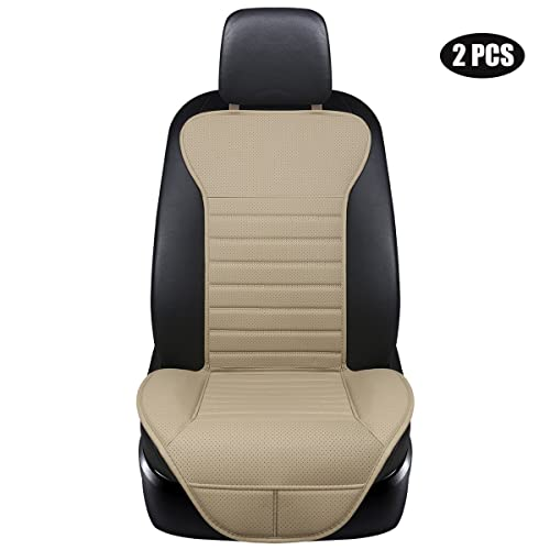 EDEALYN 2PCS Driver And Passenger Seat Cover PU Leather Covers Universal Car