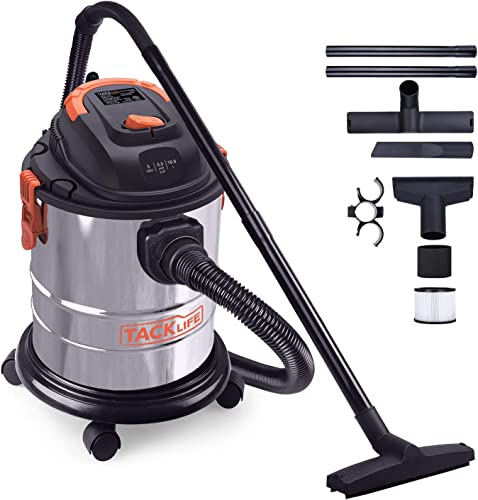 Shop Vacuum, 5 Gallon Wet Dry Vacuum with Blowing Function Stainless Steel Container 360 Degrees Swivel Caster Wheels for Houses, Garages and Cars