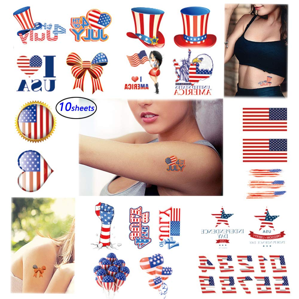 Independence Day Temporary Tattoo 4th of July Tattoo Sticker 10 Sheets American Tattoos Patriot Party Face Stickers for Commemorative Celebration Party