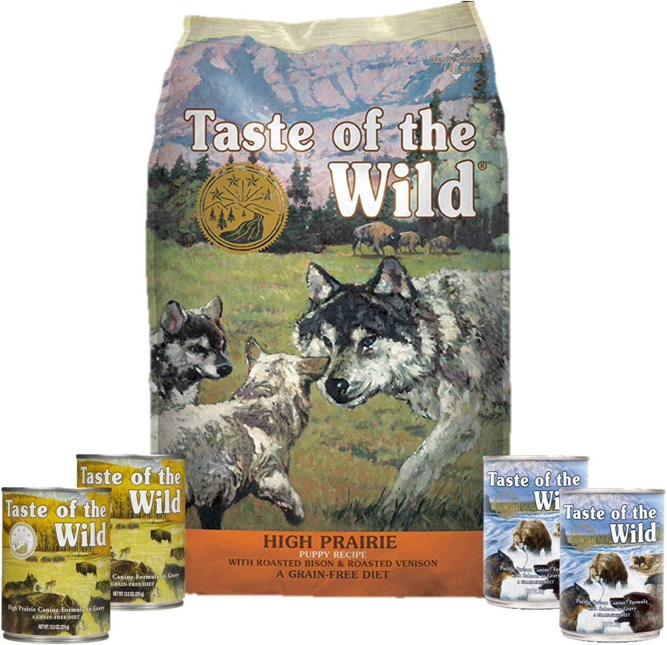 Taste The Wild Dog-Food High Prairie Puppy Food Grain Free 6 Pack 1 14lb Bag 4 Cans 1 Lid