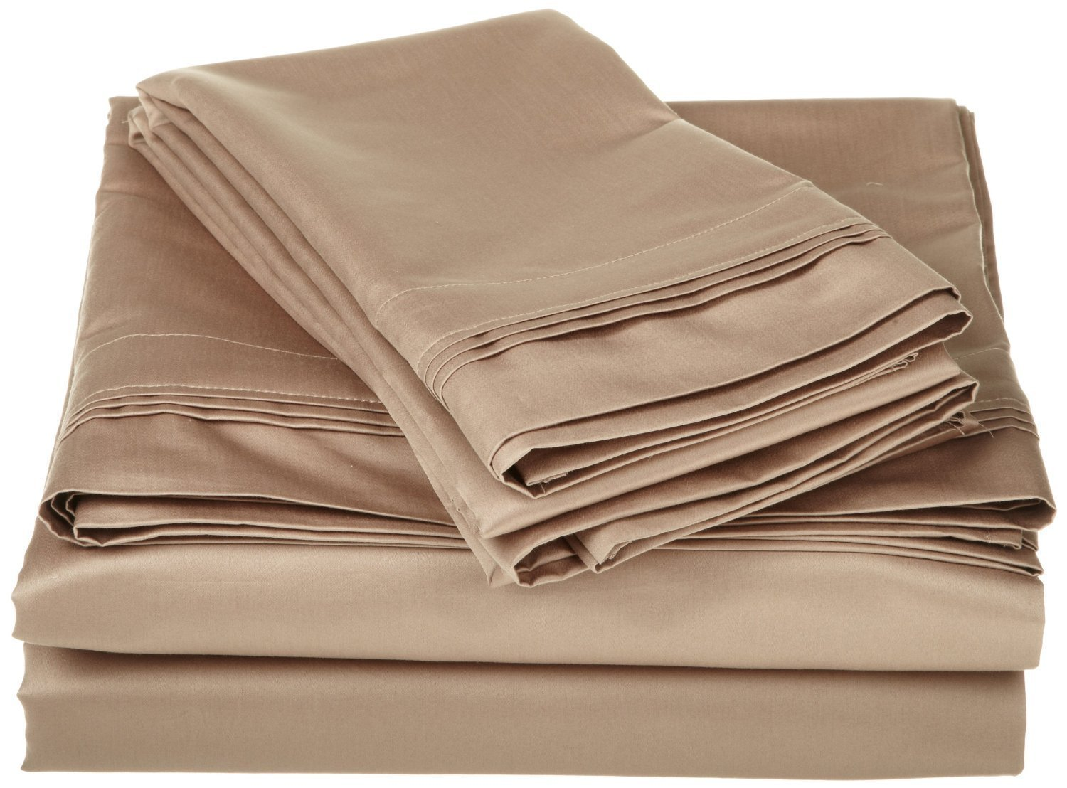 600 Thread Count 100% Egyptian Cotton Classic 1-Piece Flat Sheet/ Top Sheet California King Size Taupe Solid .
