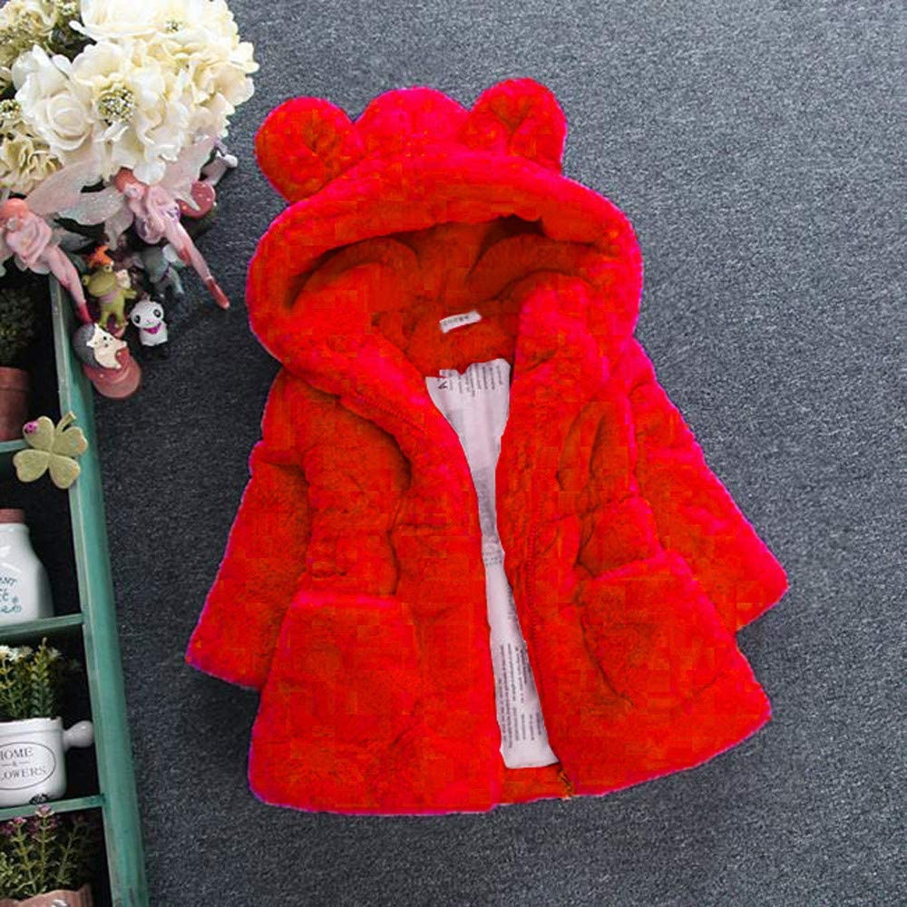 WuyiMC Cotton Coat for Girls Kids Faux Fur Fleece Lapel Coat Winter Warm Jacket for Baby Girls