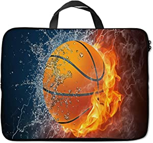 Britimes Laptop Sleeve Case Protection Bag Waterproof Neoprene PC Cover Water Resistant Notebook Handle Carrying Computer Protector Basketball Fire 14 15 15.6 inches